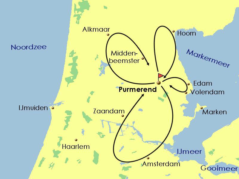 plan circuit vélo nord Amsterdam